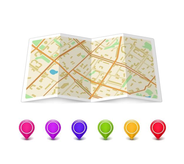 Lege kaart met veelkleurige speldwijzers