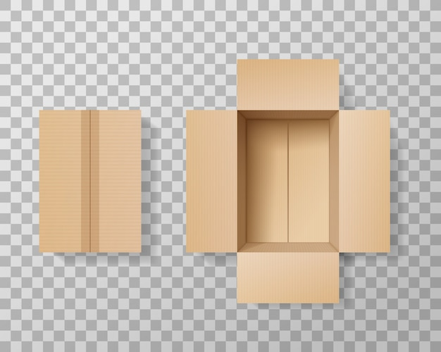 Lege kartonnen doos realistisch op transparante achtergrond