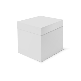 Lege kartonnen doos sjabloon op witte achtergrond.