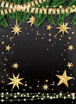 Lege kerst wenskaart met fir takken