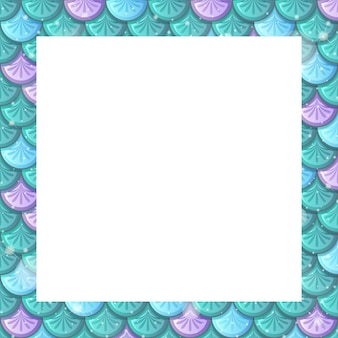 Lege kleurrijke vis schalen frame sjabloon
