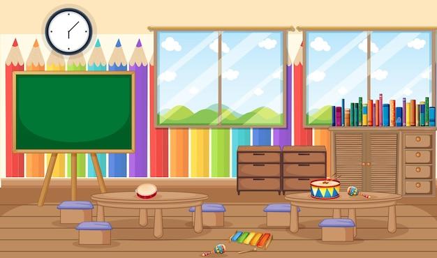 Lege kleuterschoolruimte met klaslokaalvoorwerpen en binnenhuisarchitectuur