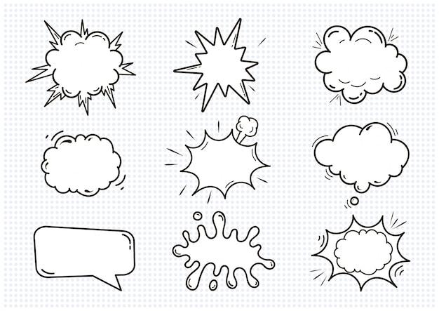 Lege komische correcte toespraakbellen geplaatst die op witte illustratie worden geïsoleerd. wolken met plaats voor tekst.