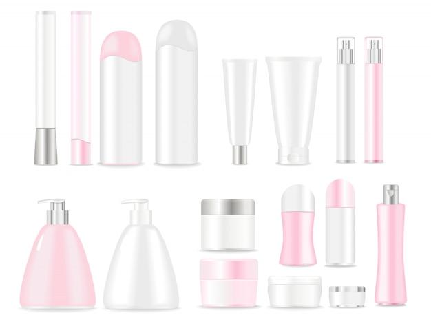 Lege kosmetische buizen die op wit worden geplaatst