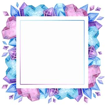 Lege kristallijne kleur frame hand getekende illustratie.