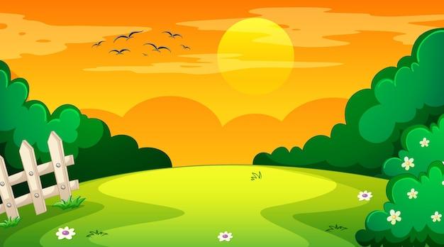 Lege landschapsscène van natuurpark bij zonsondergang