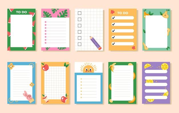 Lege lege planner om lijstnotities met schattig patroon te doen
