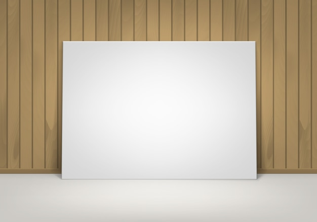 Lege lege witte mock up poster fotolijst staande op de vloer met bruine sienna houten muur vooraanzicht