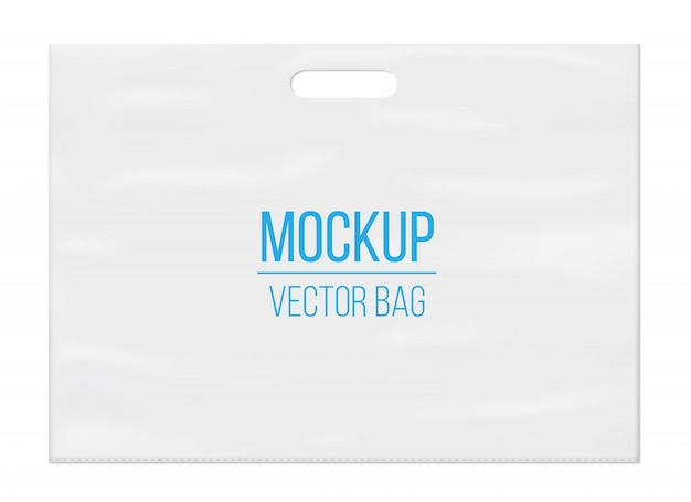 Lege lege witte plastic zak mockup sjabloon.