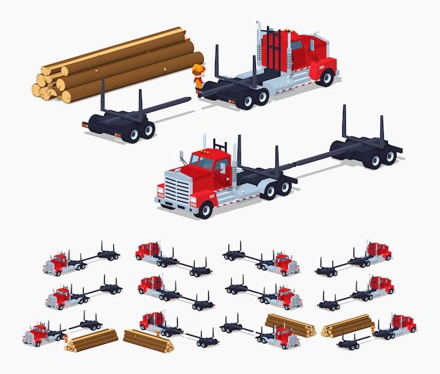 Lege log 3d lowpoly isometrische vrachtwagen