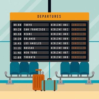 Lege luchthaven met bagage geannuleerde vlucht