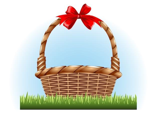 Lege mand met een rode strik op het gras