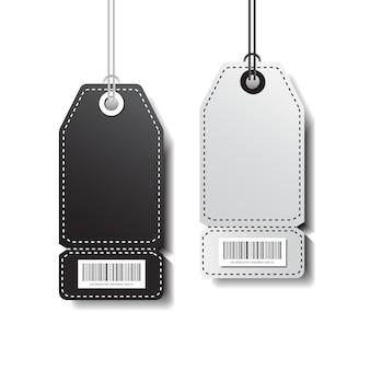 Lege markeringenmalplaatje het winkelen stickers met streepjescode die op witte achtergrond wordt geïsoleerd