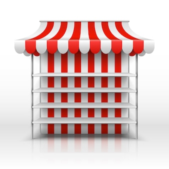 Lege marktkraam. kiosk met gestreepte afbaarden vector sjabloon. illustratie van marktkiosk met het afbaarden, detailhandel en opslagstraat