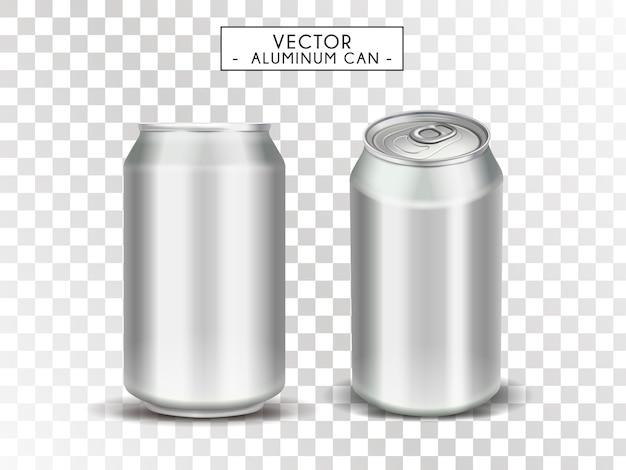 Lege metalen blikken voor gebruik, transparante achtergrond, illustratie