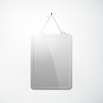 Lege metalen bord sjabloon opknoping op spijker in realistische stijl op wit geïsoleerd