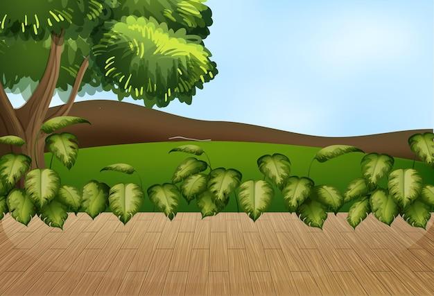 Lege natuurlandschapsscène met wazige hemelachtergrond