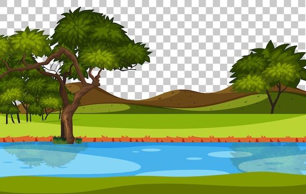 Lege natuurpark scène landschap rivier op transparante achtergrond