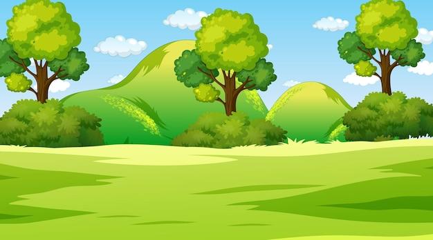 Lege natuurparklandschapsscène overdag Gratis Vector