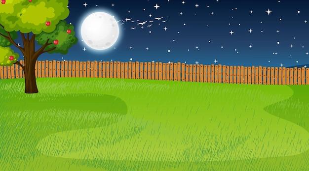 Lege natuurparklandschapsscène 's nachts