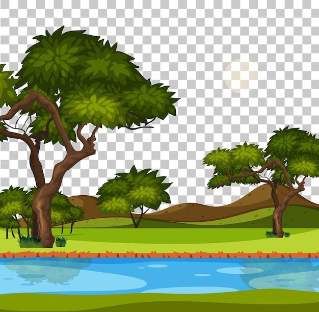 Lege natuurparkscène met rivier op transparante achtergrond