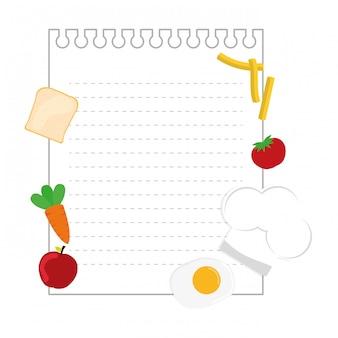 Lege notapagina met voedseldecoratie. copyspace