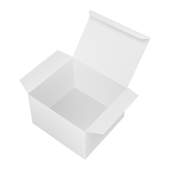Lege open rechthoekige kartonnen doos.