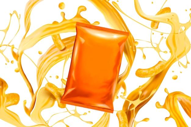 Lege oranje foliezak met spattende kaassaus en krullen