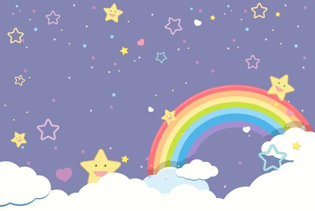 Lege paarse hemel met regenboog en smiley schattige sterren