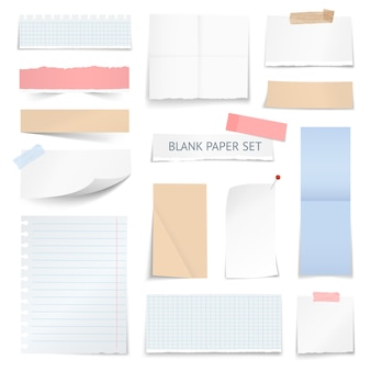 Lege papieren bladen strips realistische collectie