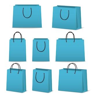 Lege papieren boodschappentassen set geïsoleerd op wit
