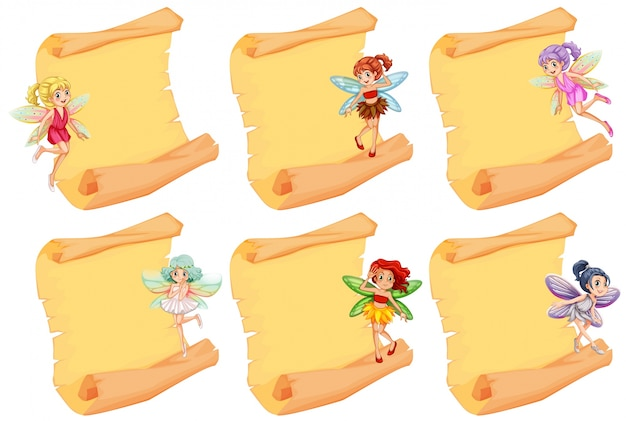 Lege papieren met feeën vliegen