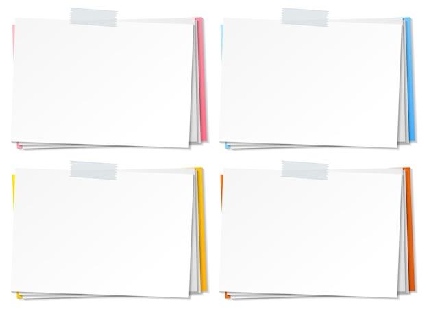 Lege papieren notitie sjabloon stok met tape