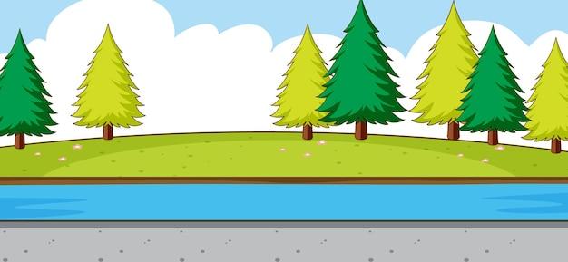 Lege parkscène met rivier in eenvoudige stijl