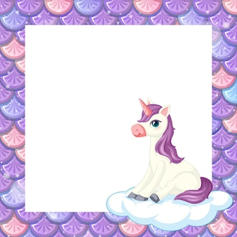Lege pastel paarse visschubben framesjabloon met schattige eenhoorn zittend op de wolk
