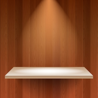 Lege plank op houten achtergrond.