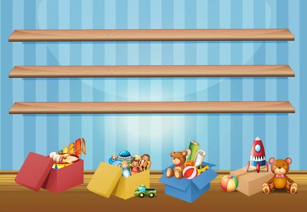 Lege planken en speelgoed op de vloer
