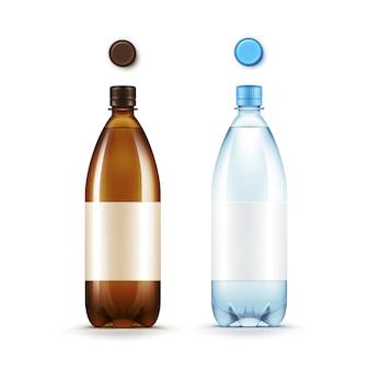 Lege plastic bruine en blauwe fles met set doppen