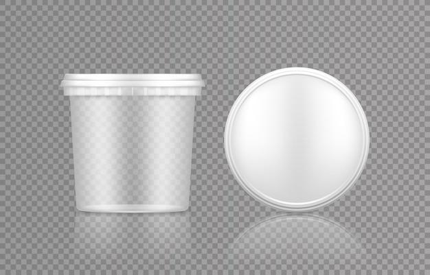 Lege plastic transparante emmer met dop bovenaanzicht mockup