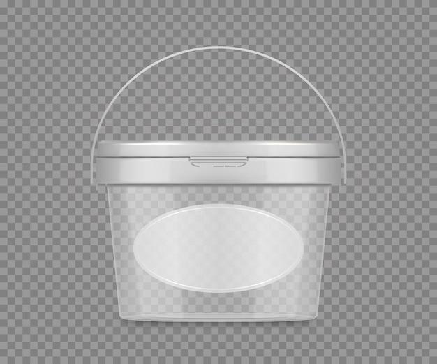 Lege plastic transparante pot mockup met etiket en handvat voor kaasijsmayonaise