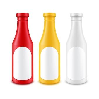 Lege plastic wit rood gele mayonaise mosterd ketchup fles voor branding met label