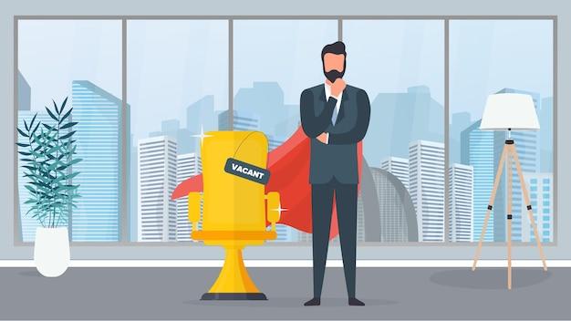 Lege plek. zakenman met rode superheldenmantel. gouden bureaustoel. het concept van openstaande vacature, zoeken en werving van personeel, hr. vector.