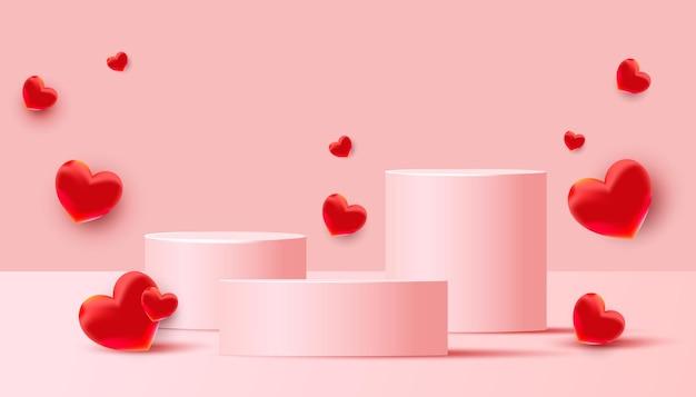 Lege podia, sokkels of platforms met vliegende rode liefdeballonnen op een roze achtergrond. minimale scène met geometrische vormen voor productpresentatie