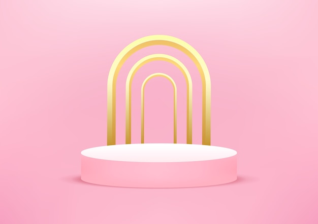 Lege podium studio roze achtergrond