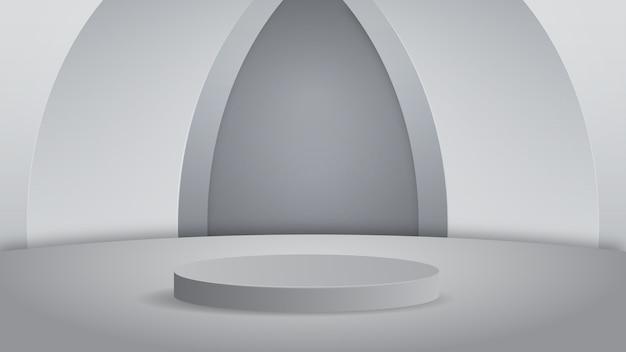 Lege podium studio zilveren achtergrond voor productvertoning met kopie ruimte