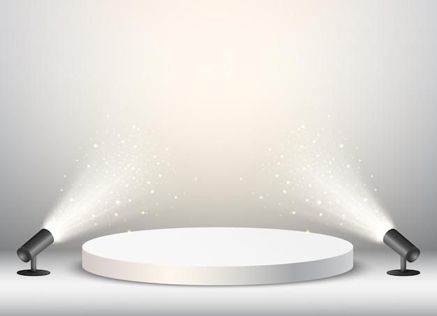 Lege podiumachtergrond met gouden confetti en licht