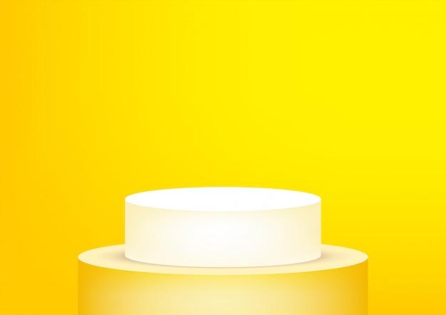 Lege podiumstudio geel voor productvertoning.