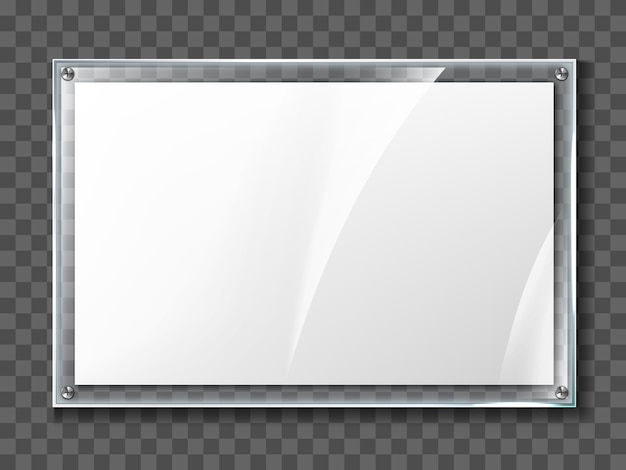 Lege poster in realistische glazen frame geïsoleerd op transparante achtergrond. transparante acryl fotoposter met muur en display frame