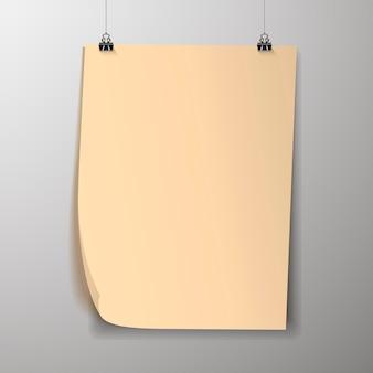 Lege poster sjabloon. een poster, een stuk papier dat aan de muur hangt. indeling van reclamebanners van de beursstand, blanco pagina van de billboard-afbeeldingen om af te drukken