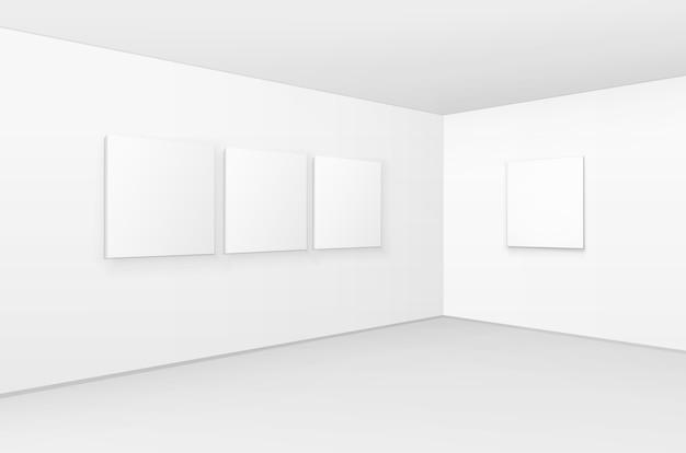 Lege posters, fotolijsten op muren met vloer in galerij